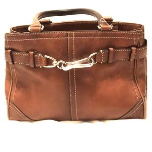 Light brown leather coach bag